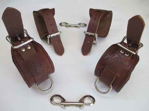 American Bison Brown Grained Leather 4 Piece Locking Restraint Cuffs Set (Wrist & Ankles)